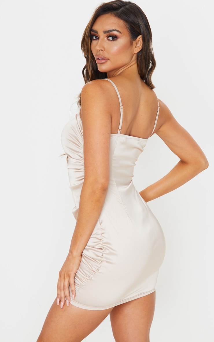 Nude Ruched Strappy Satin Bodycon Dress 2