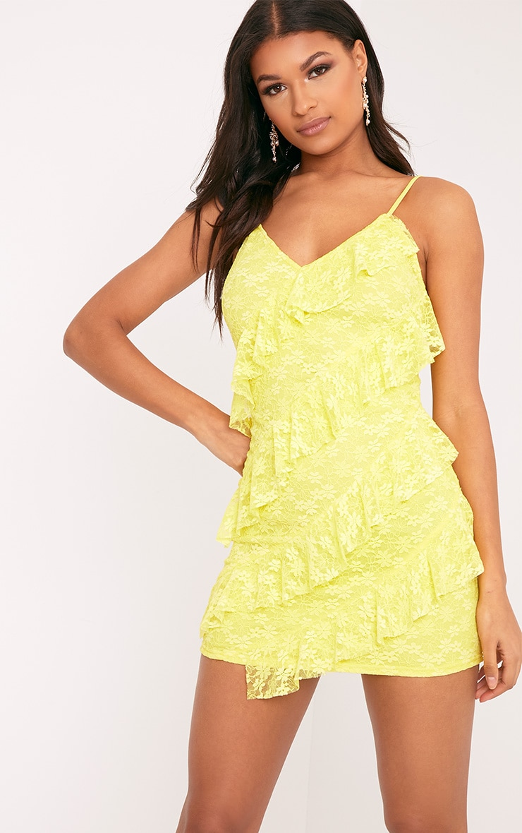 Brittany Yellow Strappy Lace Frill Bodycon Dress 2