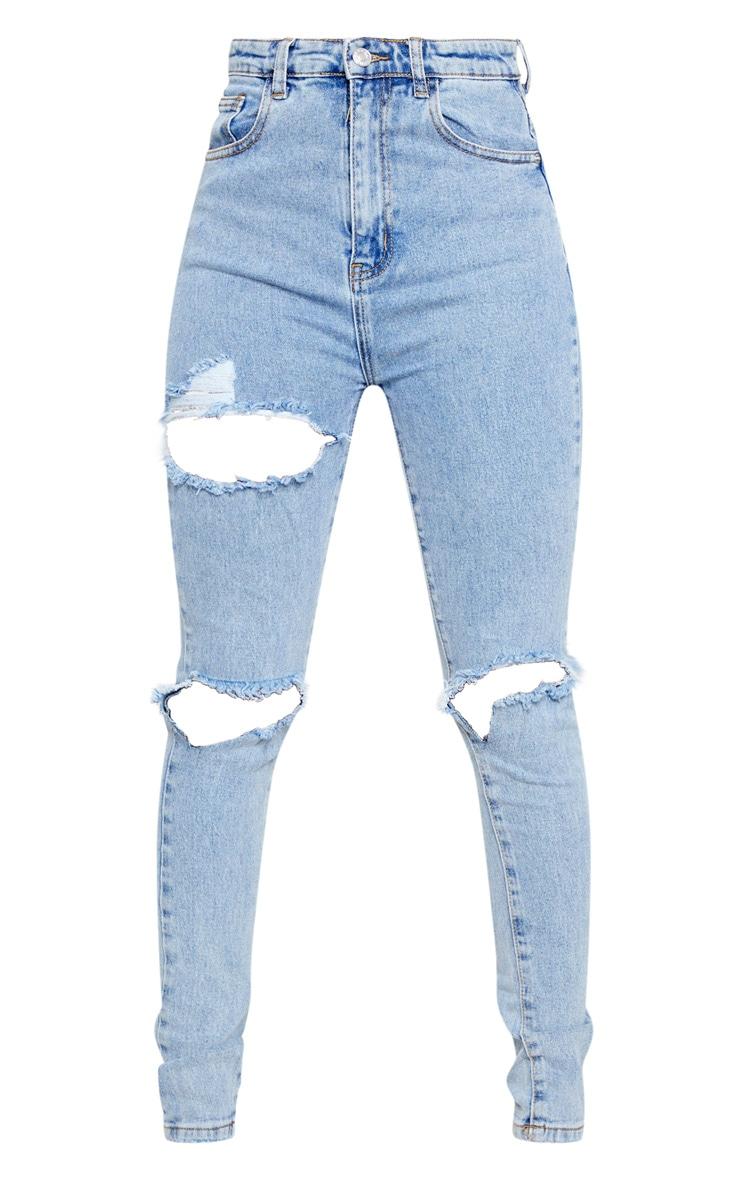 Jean skinny déchiré bleu à delavage vintage  5