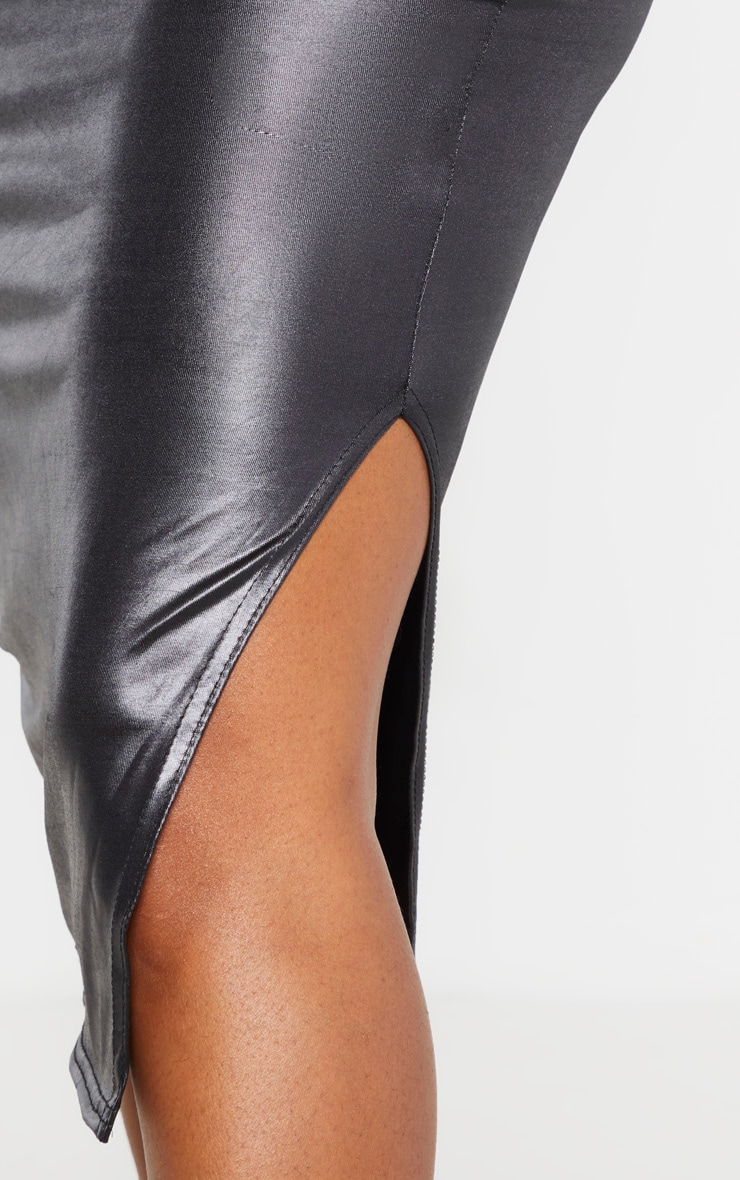 Shape Black Metallic Slinky Split Front Midi Skirt 5