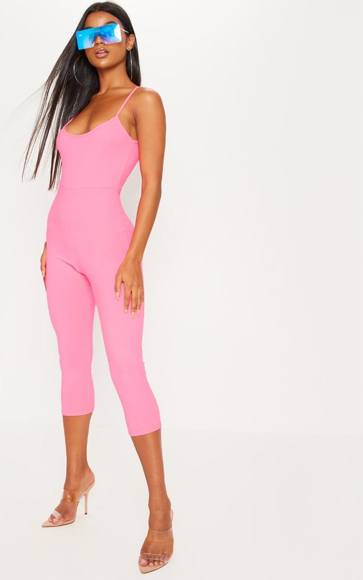 Neon Pink Strappy Unitard 4