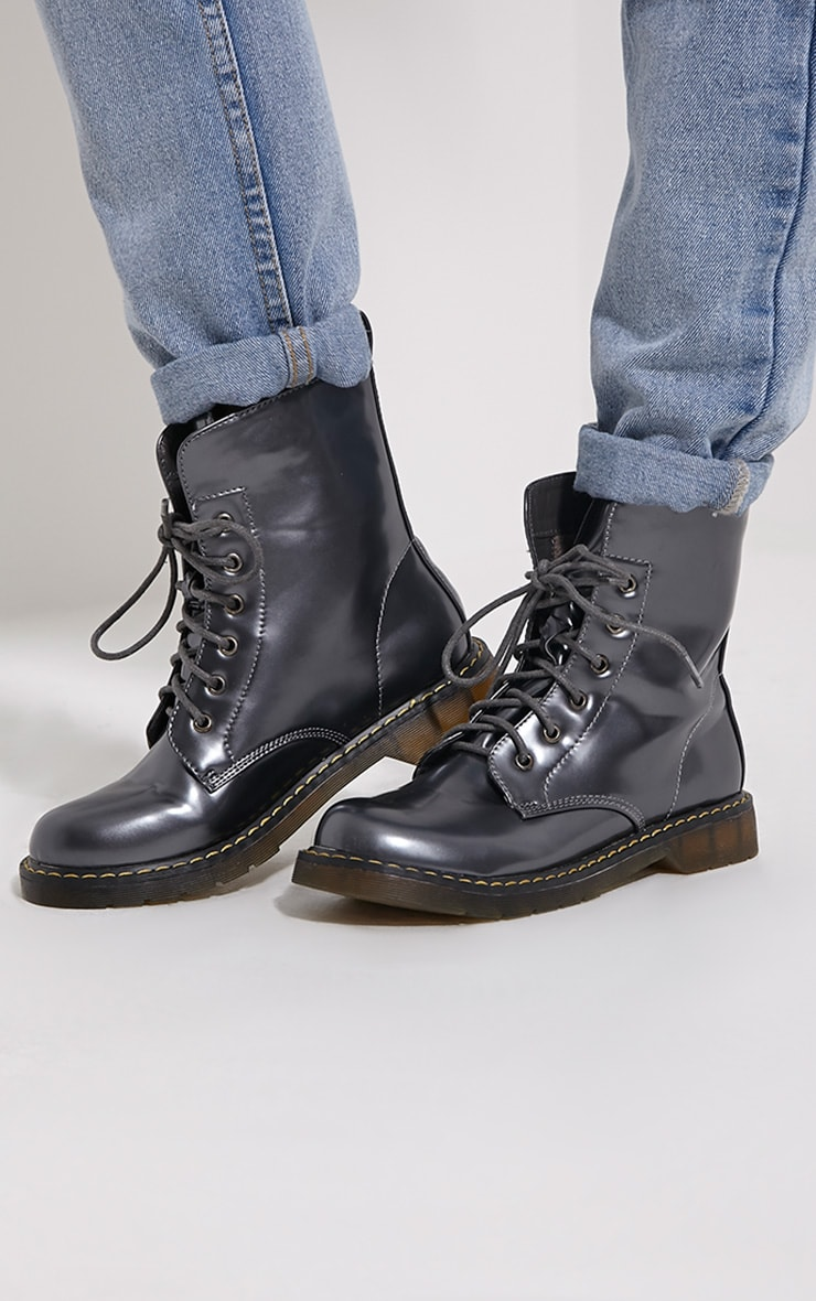 Eleni Grey Metallic Rubber Sole Lace Up Boots 1