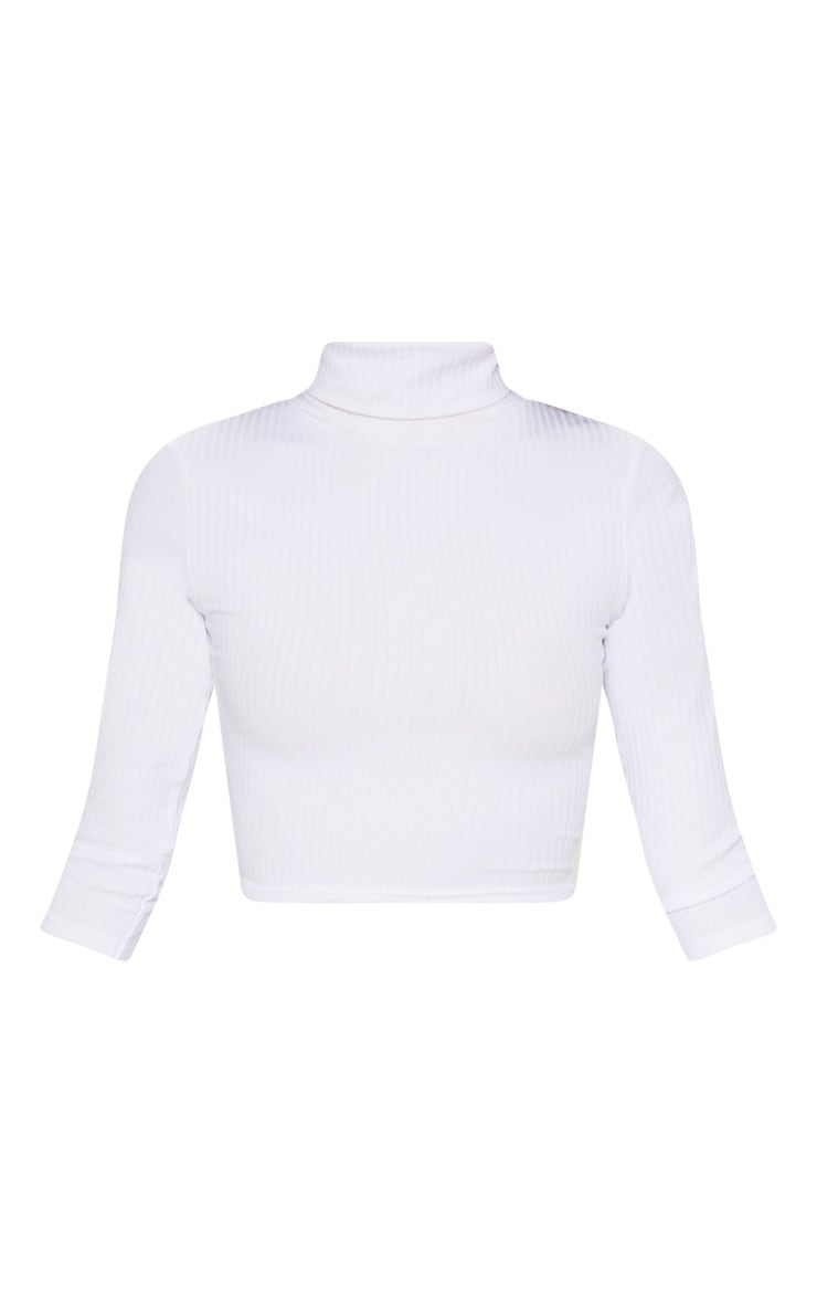 White Long Sleeve Rib Roll Neck Crop Top 3