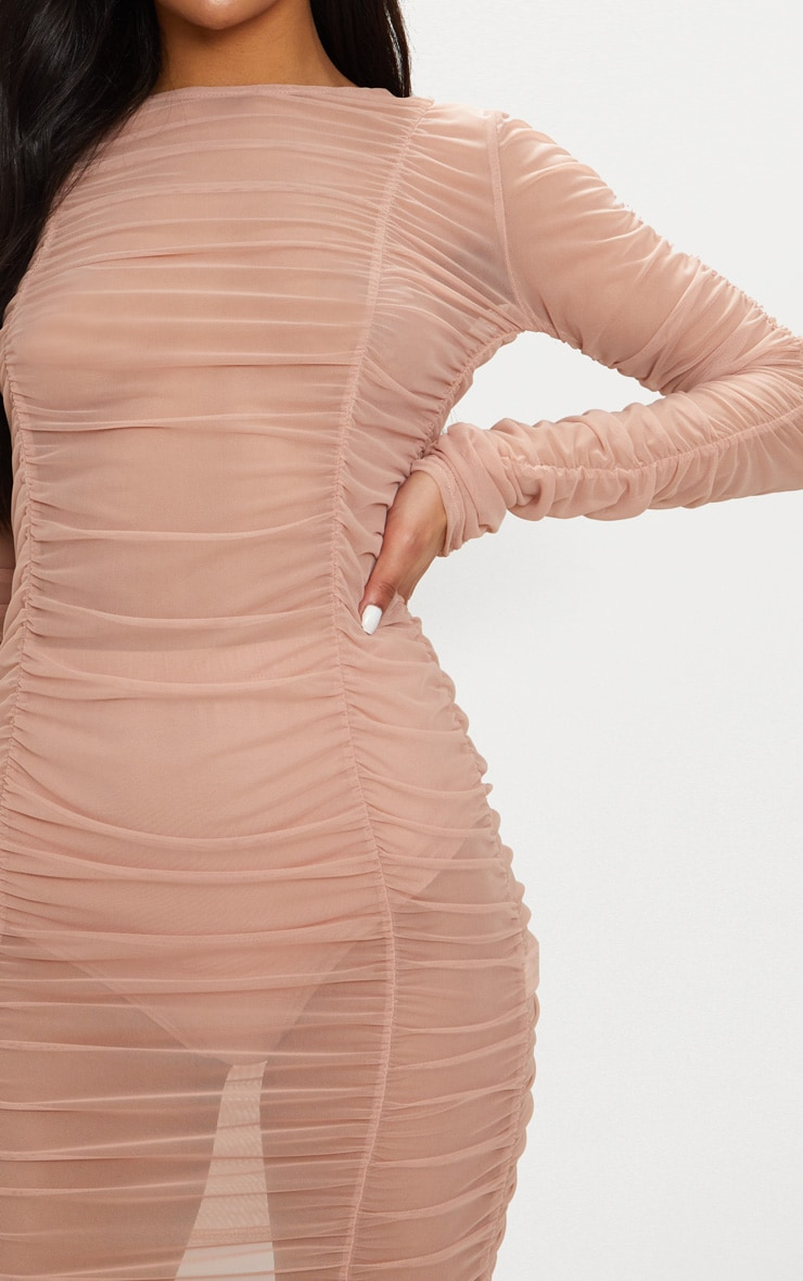 Nude Sheer Mesh Ruched Long Sleeve Bodycon Dress 5