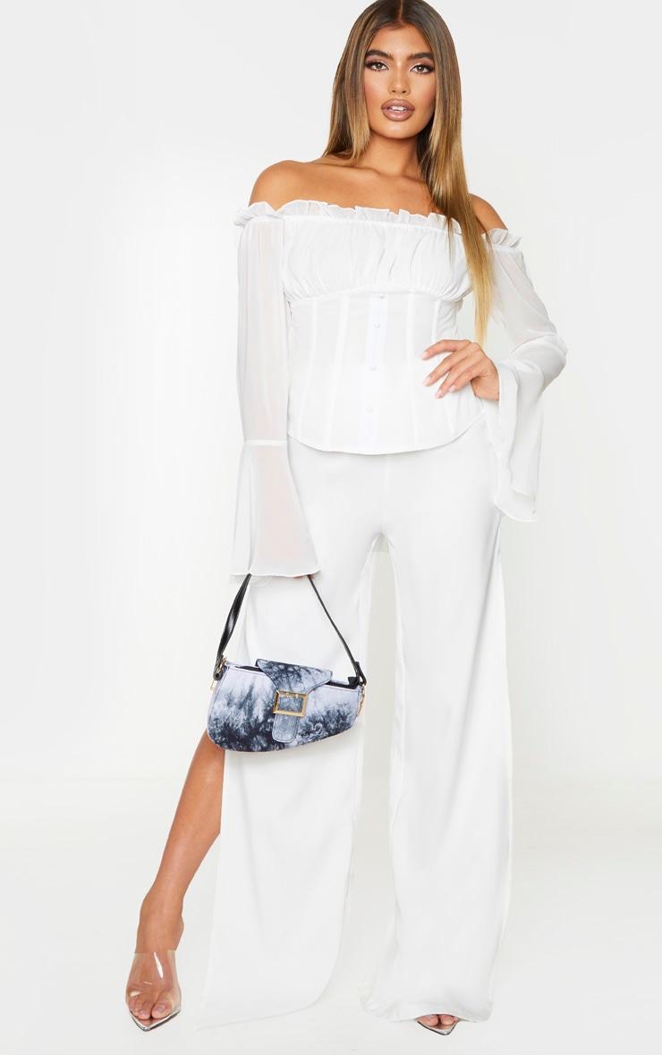 White Chiffon Bardot Longline Top 3