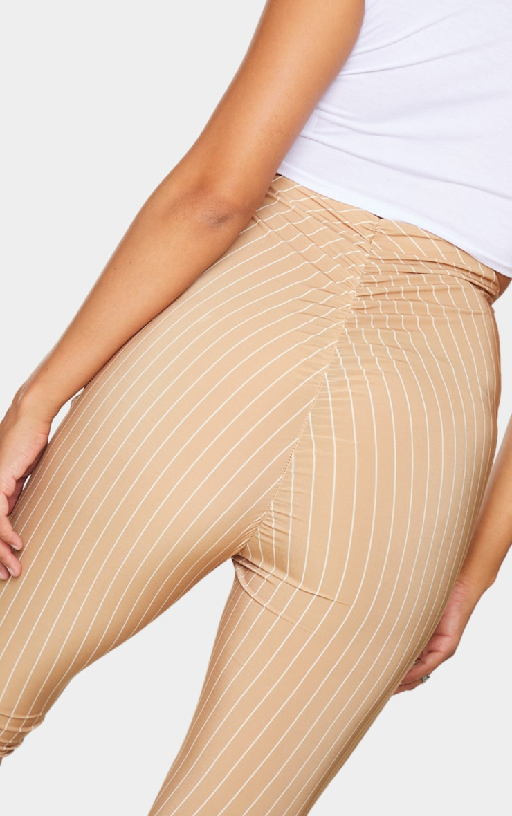 Camel Pinstripe Ruched Bum Slinky Flared Pants 4