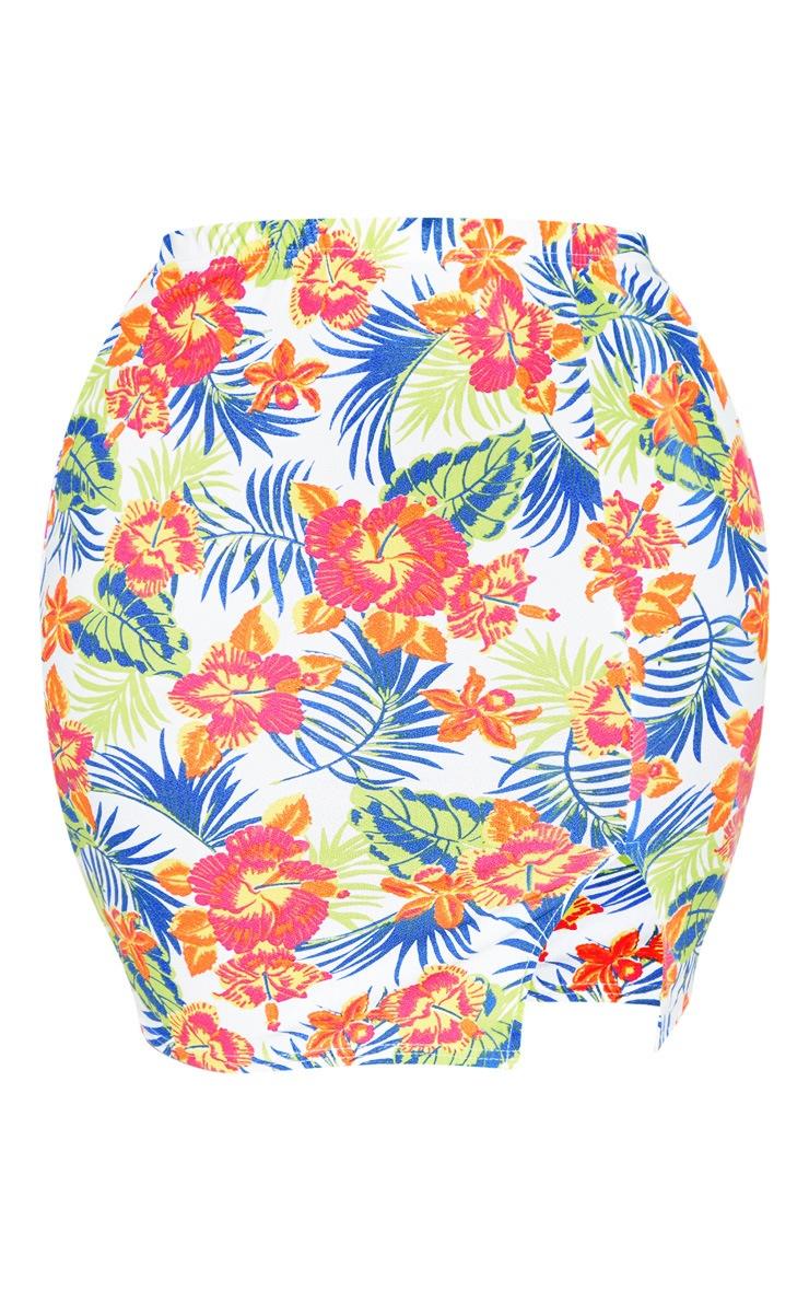 Plus White Tropical Print Split Detail Mini Skirt  3