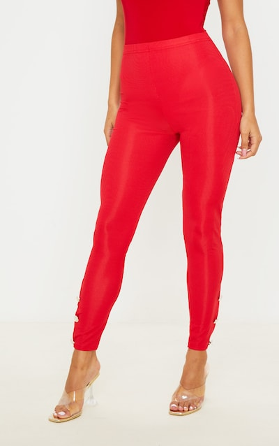 Red Button Hem Detail Legging
