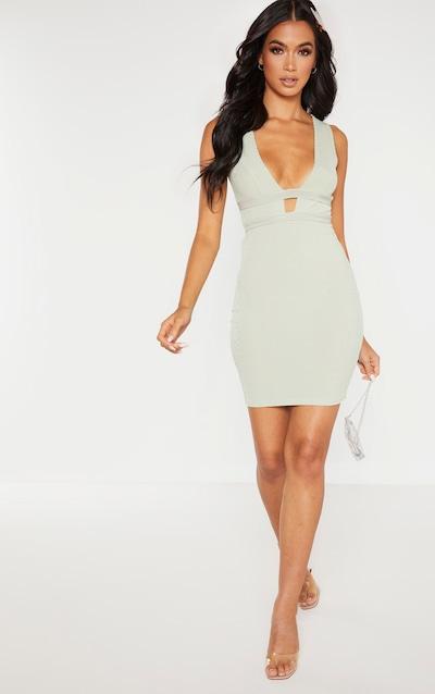 Sage Green Ribbed Plunge Detail Sleeveless Bodycon Dress