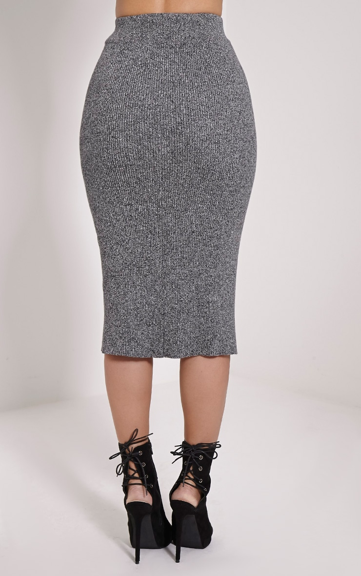 Isla Grey Lace Detail Knitted Skirt 4