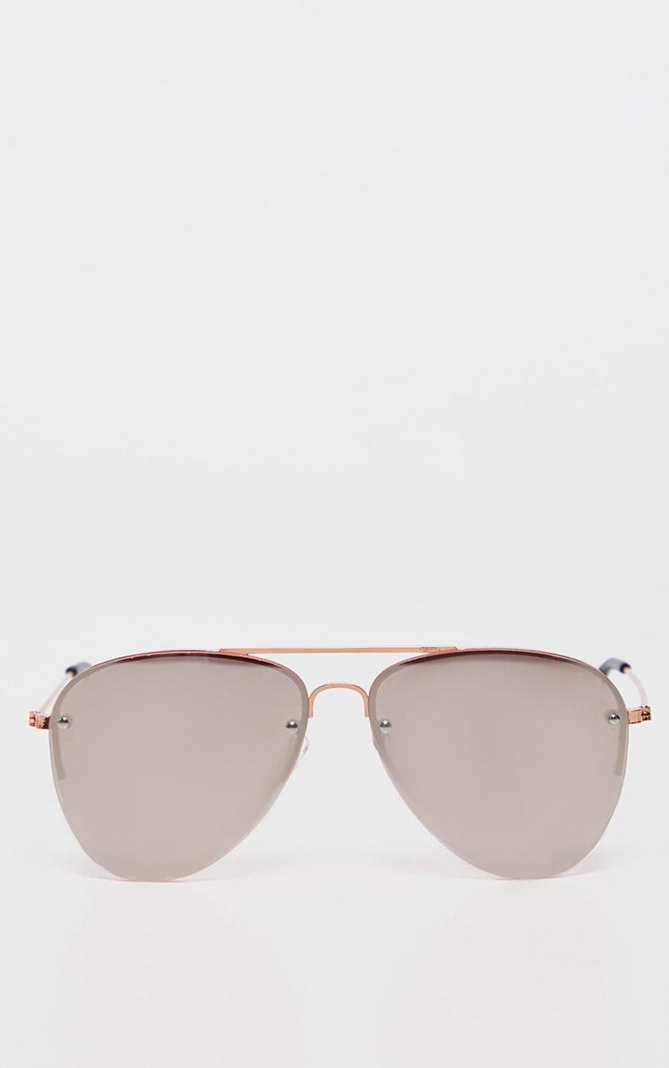 Pink Lens Rose Gold Aviator Sunglasses           2