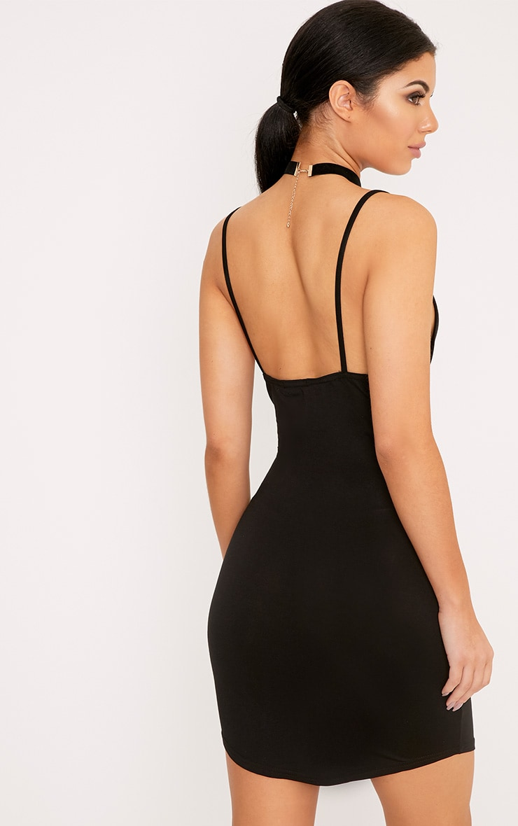 Basic Black Jersey Strappy Mini Dress 2
