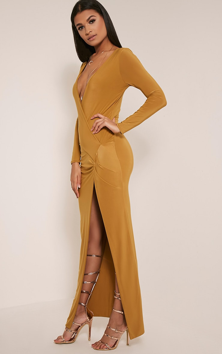 Aubreanna Dark Gold Wrap Front Ruched Maxi Dress 6