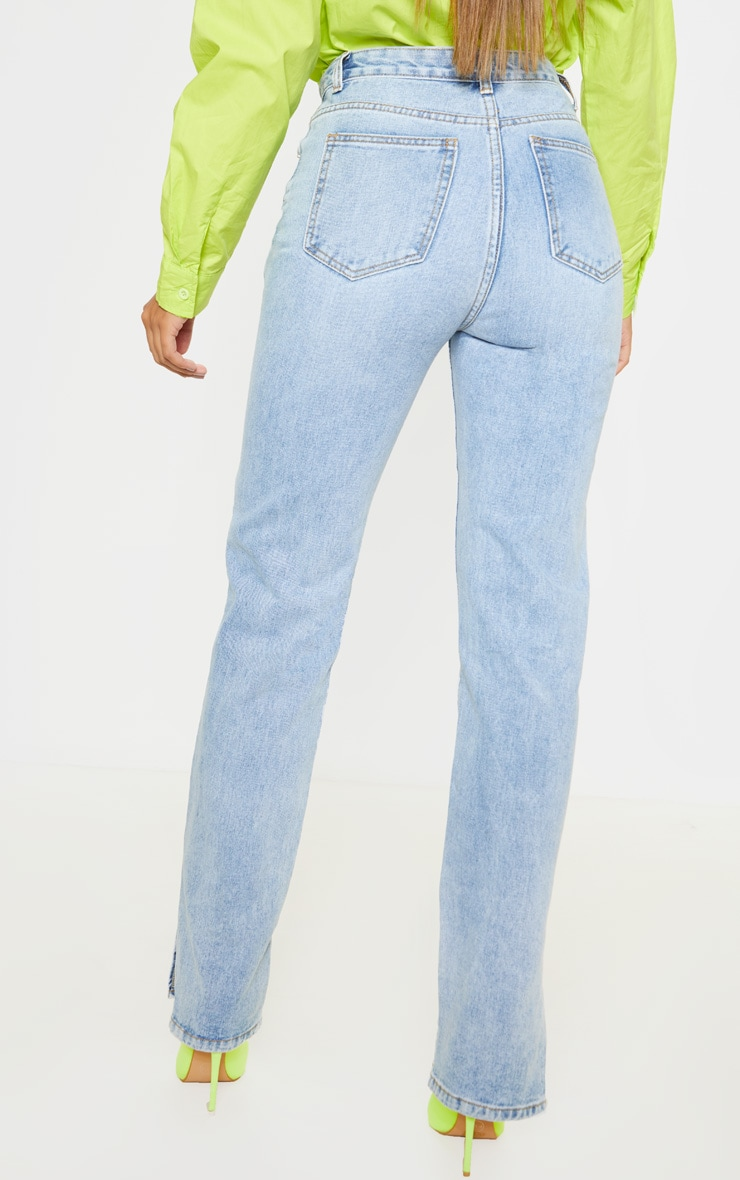 Light Wash Split Hem Jeans 2