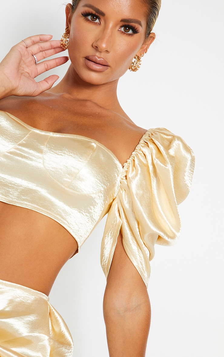 Cream Satin Ruched Puff Sleeve Cup Detail Crop Top 4