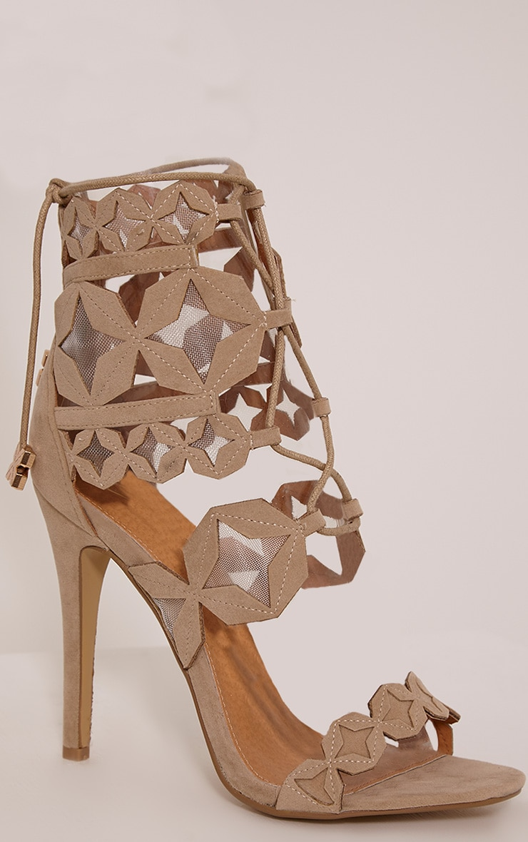 Esmee Stone Lace Up Star Strap Heels 5