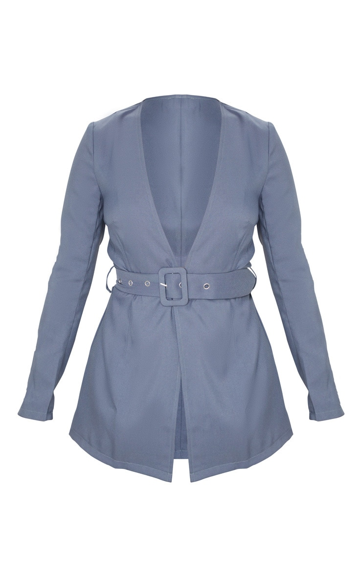 Petite Petrol Blue Belted Woven Suit Jacket 3
