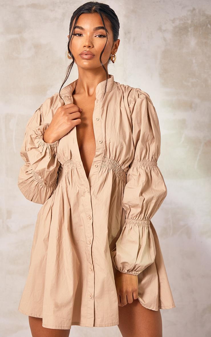 Stone Cotton Ruched Arm Detail Shirt Dress 1