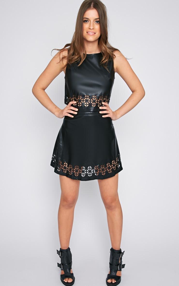 Amiya Black Cut Out Leather Crop Top  4