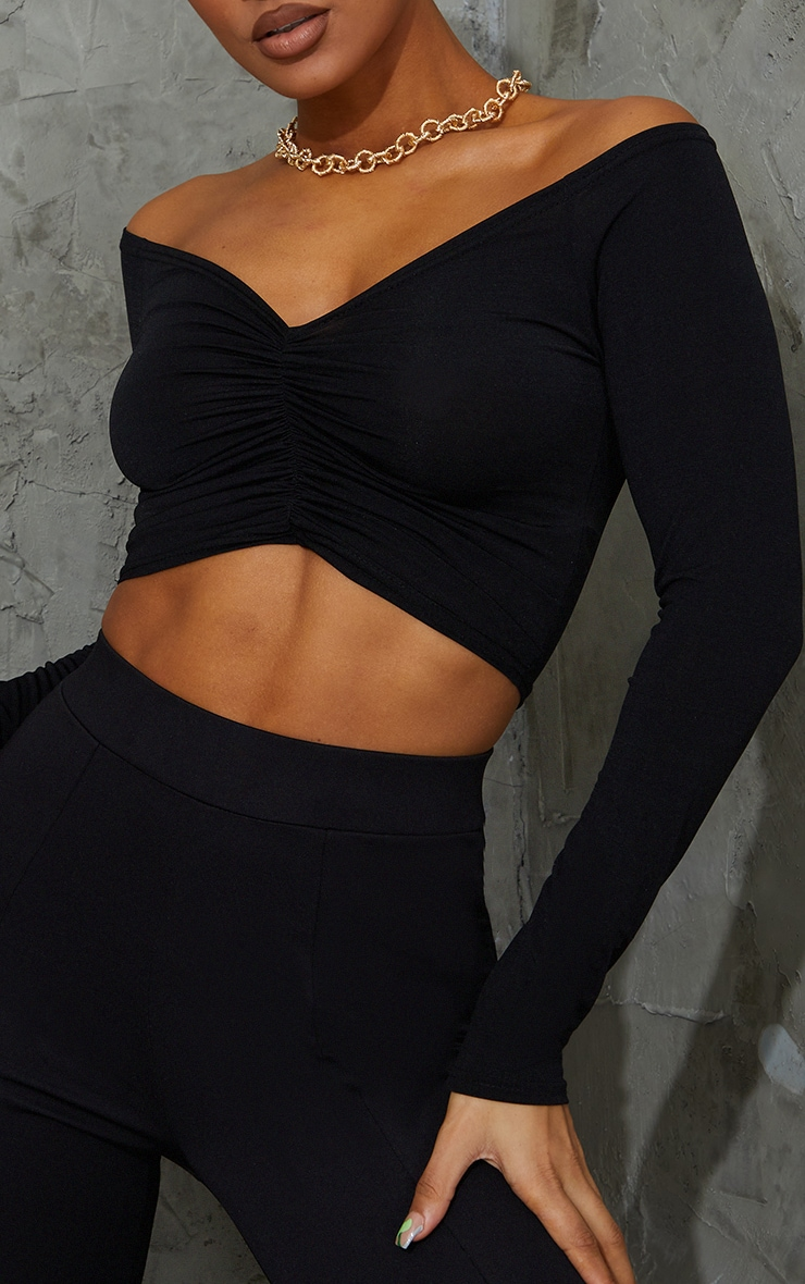 Black Slinky Ruched Front Long Sleeve Crop Top  4