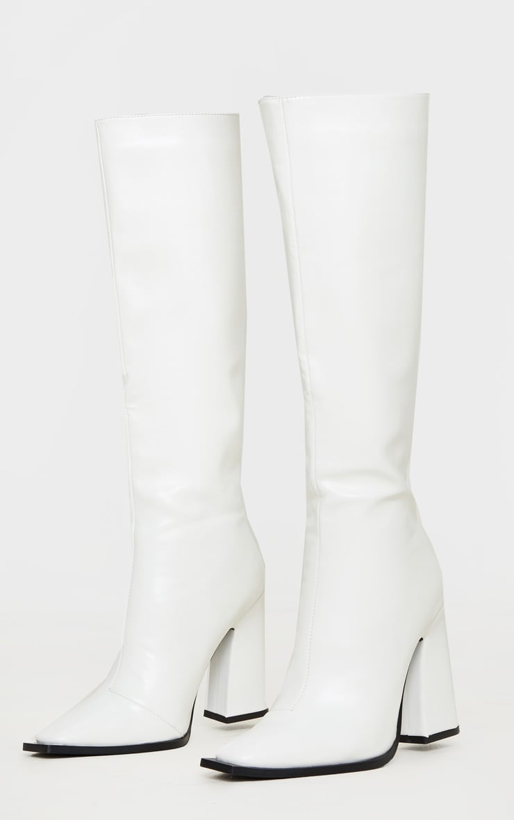 White Square Toe Block Heel Calf Boot 3