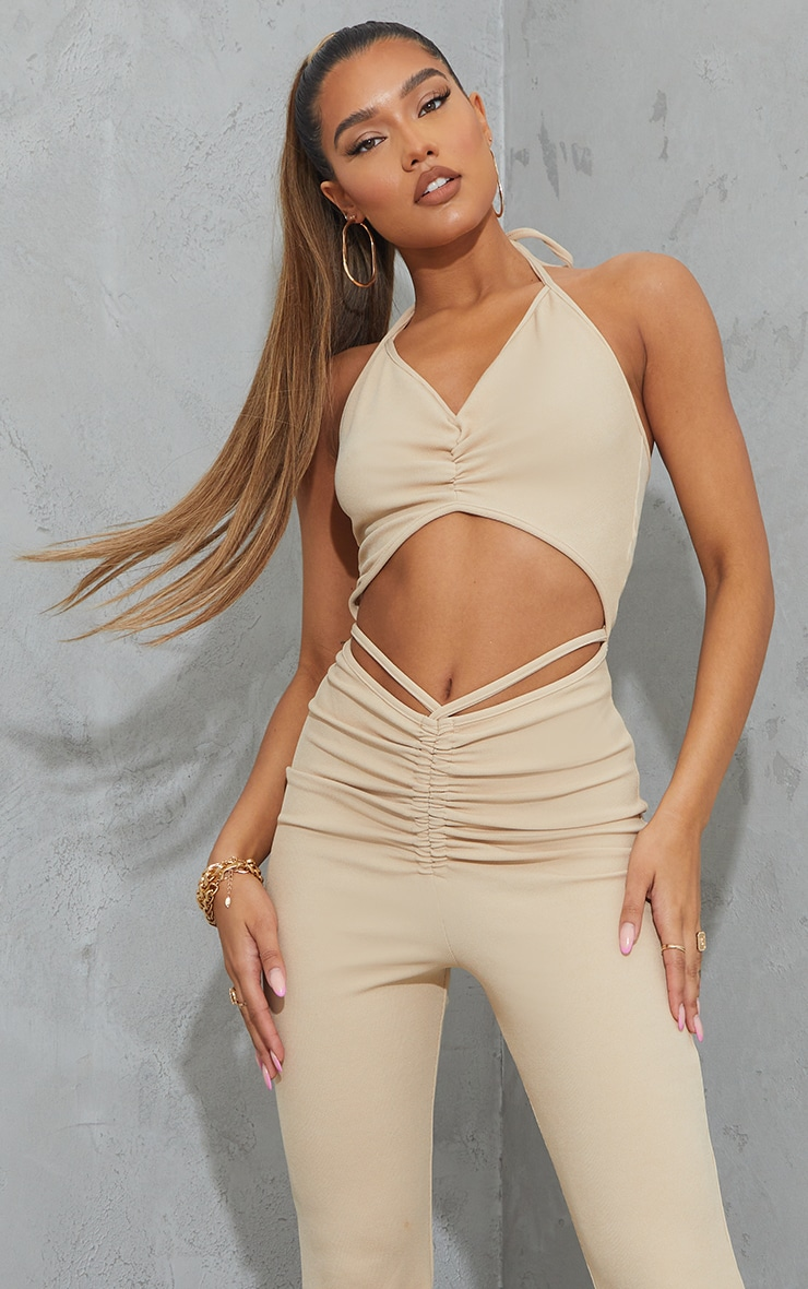 Stone Ruched Cut Out Strap Detail Jumpsuit 4