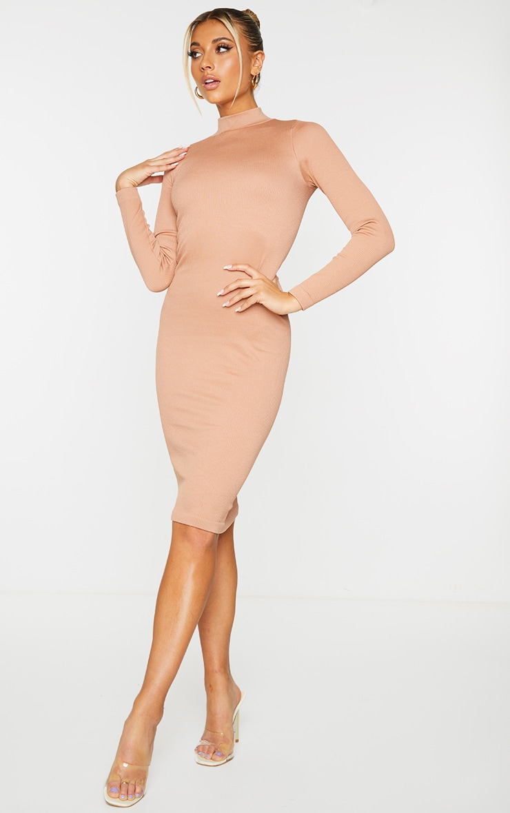 Taupe Structured Contour High Neck Midi Dress 3