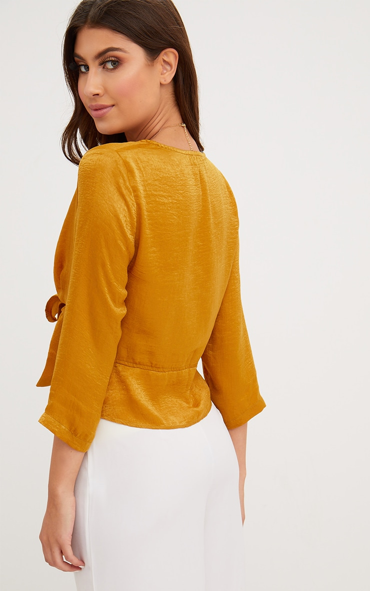 Mustard Hammered Satin Tie Front Frill Crop Top 2
