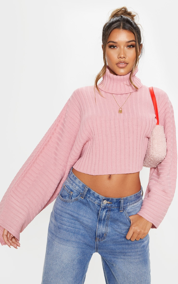 Blush Ribbed Knit High Neck Sweater  1
