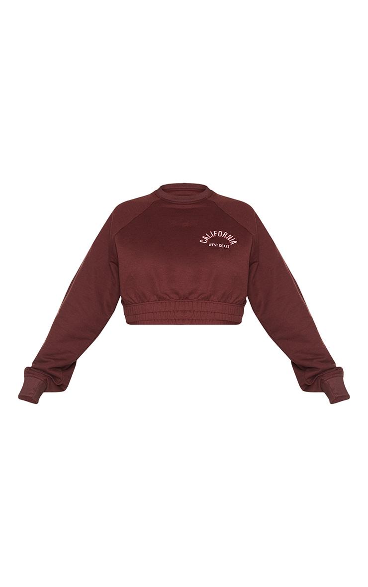 Plus Chocolate Brown California Print Sweatshirt 5
