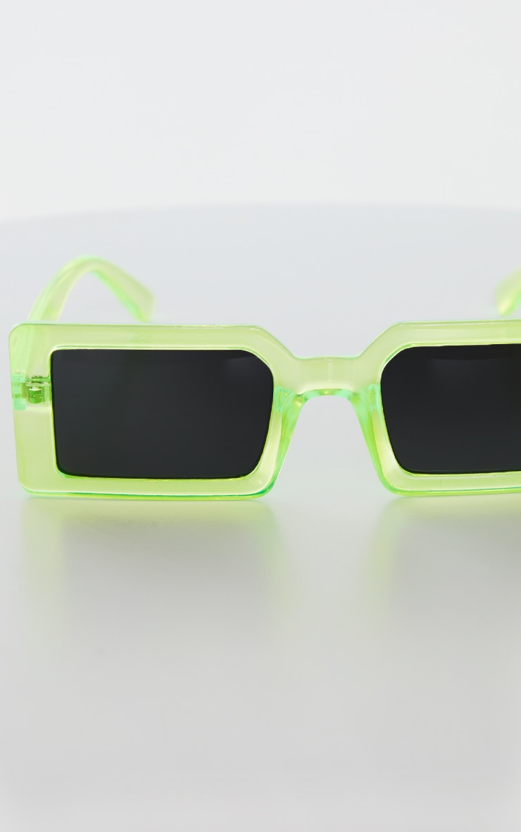 Green Squareframe Slimline Sunglasses 2