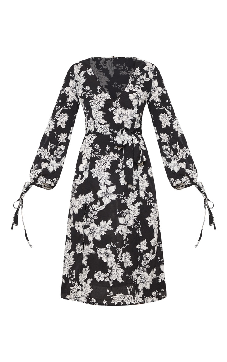 Black Tie Waist Floral Print Split Midi Dress 3