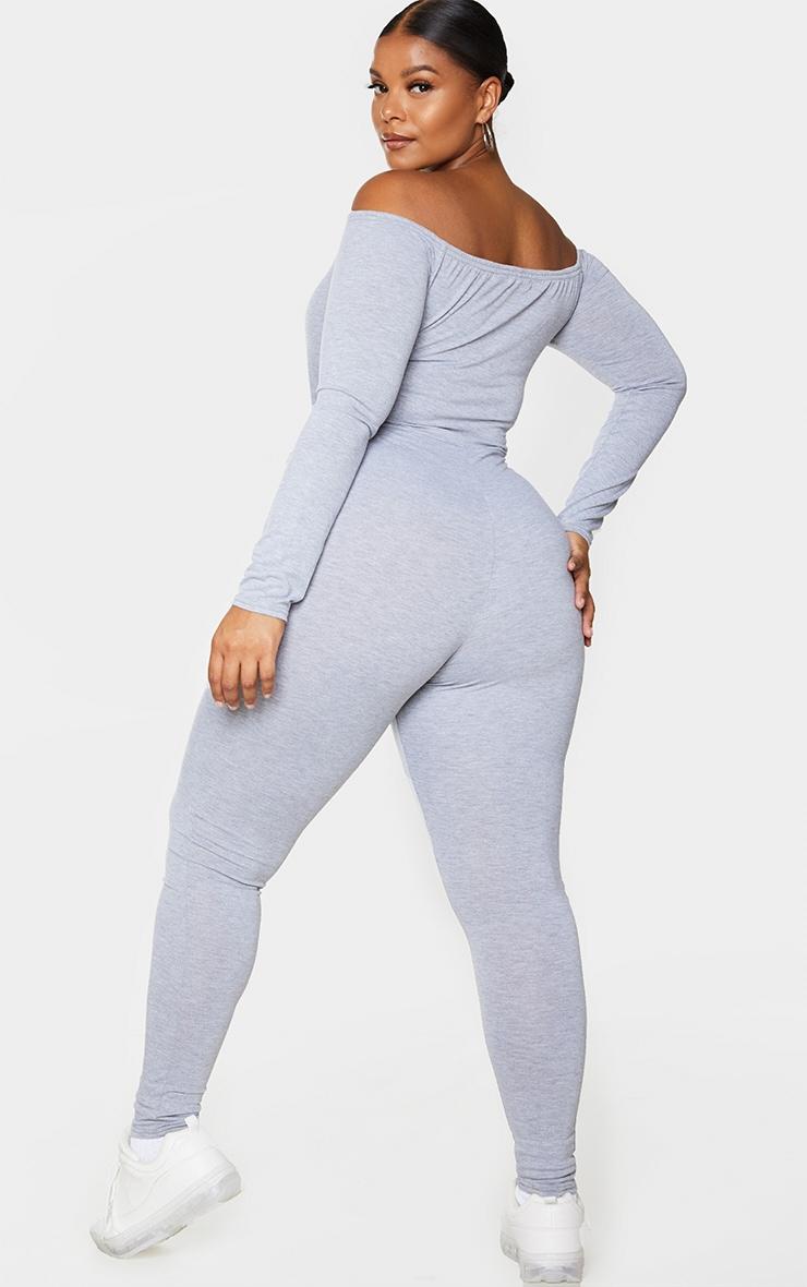 Plus Grey Jersey Bardot Basic Jumpsuit 2