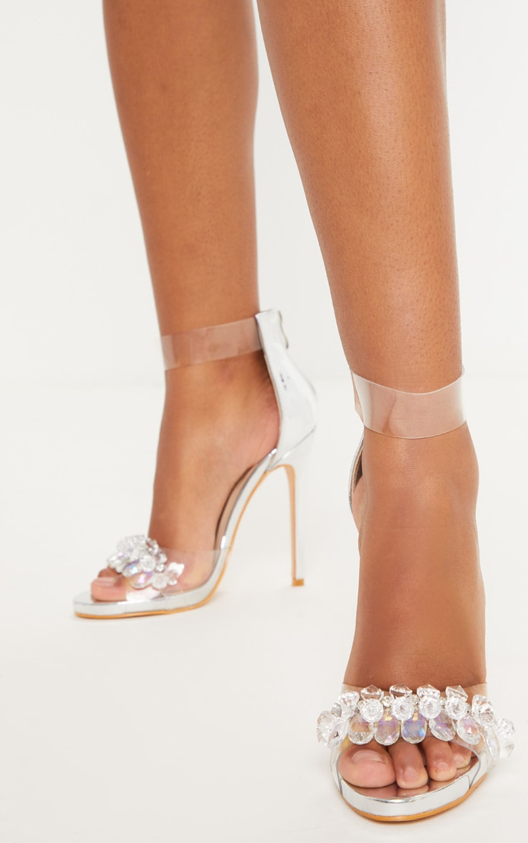 Silver Clear Beaded Strappy Heel Sandal