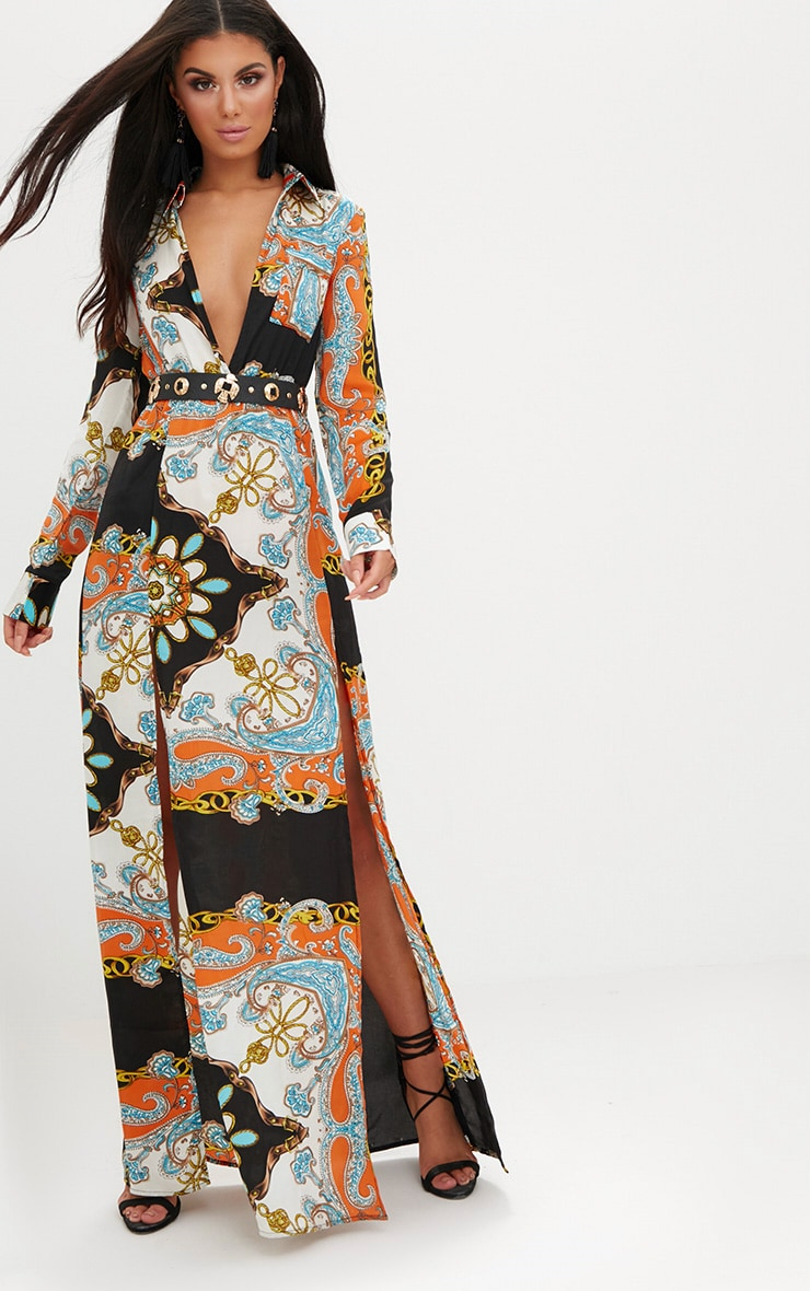 Orange Scarf Print Plunge Long Sleeve Maxi Dress 1