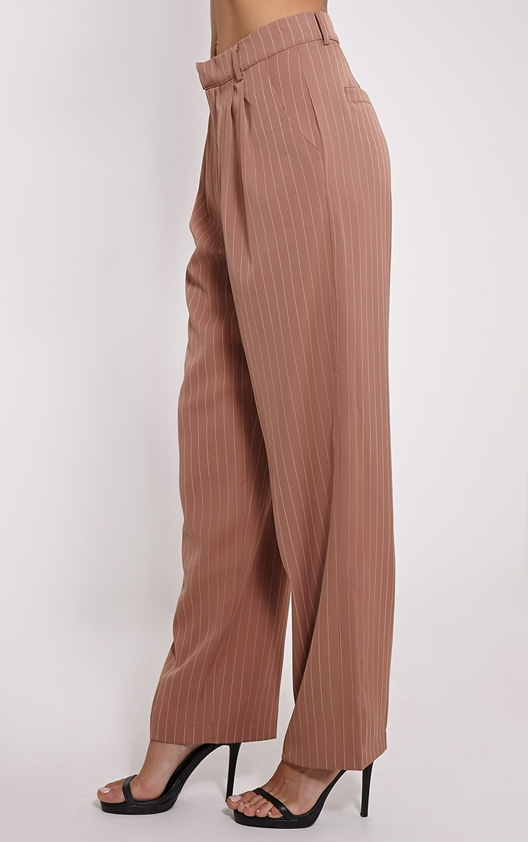 Adalyn Camel Pinstripe Wide Leg Trousers 3