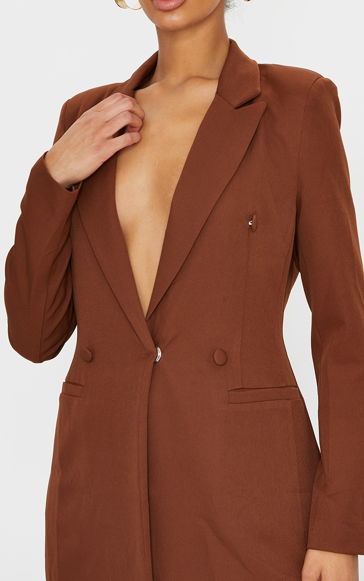 Chocolate Brown Double Breasted Woven Blazer 4
