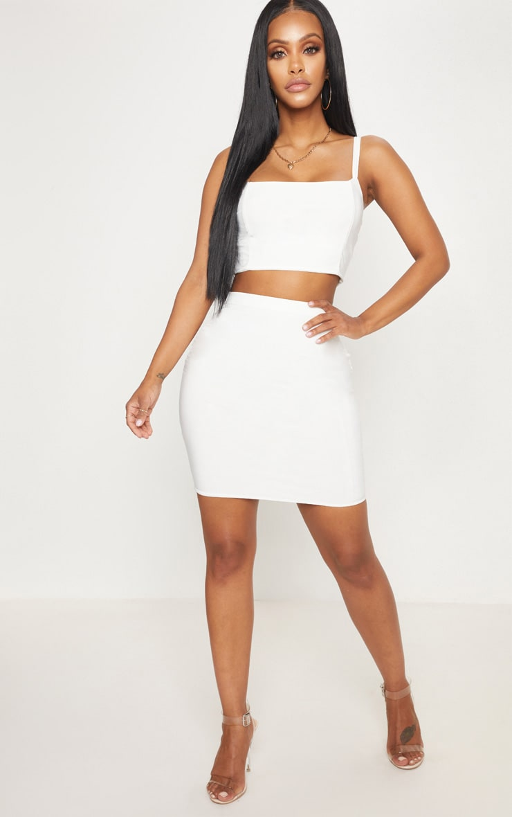 Shape Ivory Slinky Panelled Crop Top 4