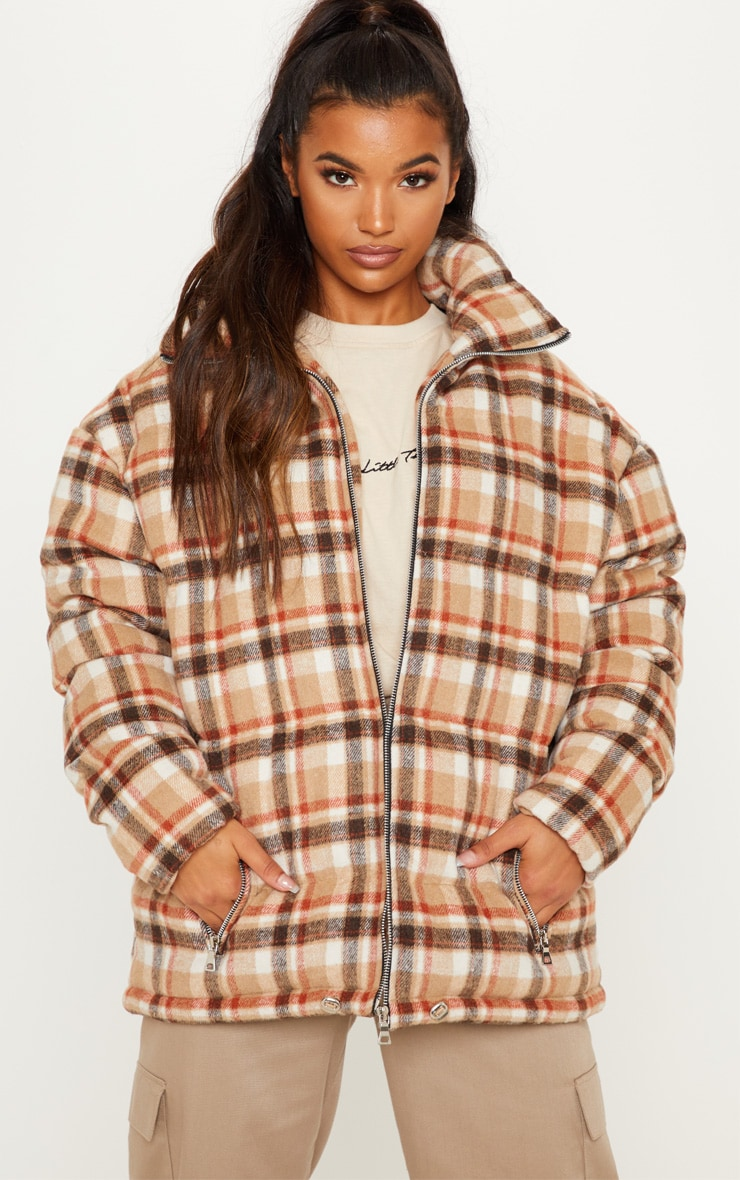 Stone Checked Puffer 2