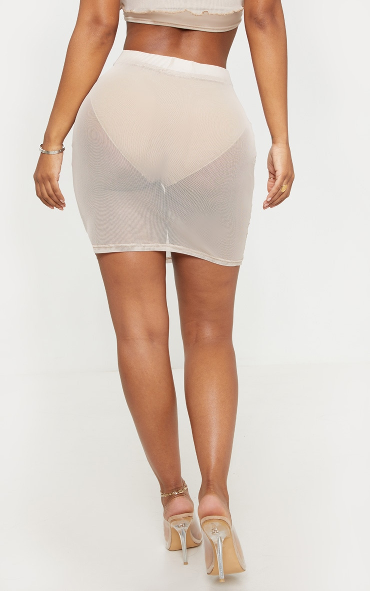 Shape Stone Sheer Mesh Ruched Bodycon Skirt  4