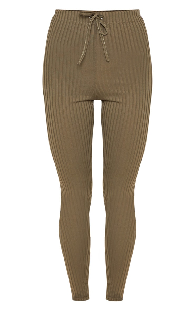 Khaki Ribbed Tie Detail Legging 3