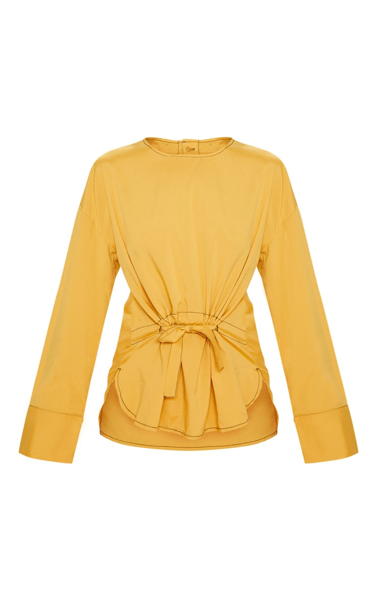 Mustard Woven Contrast Stitch Gathered Waist Shirt 3