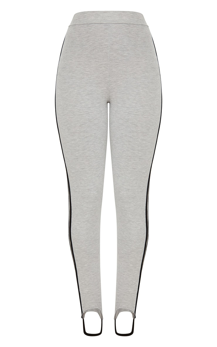 Grey Marl Track Stripe Stirrup Leggings 3