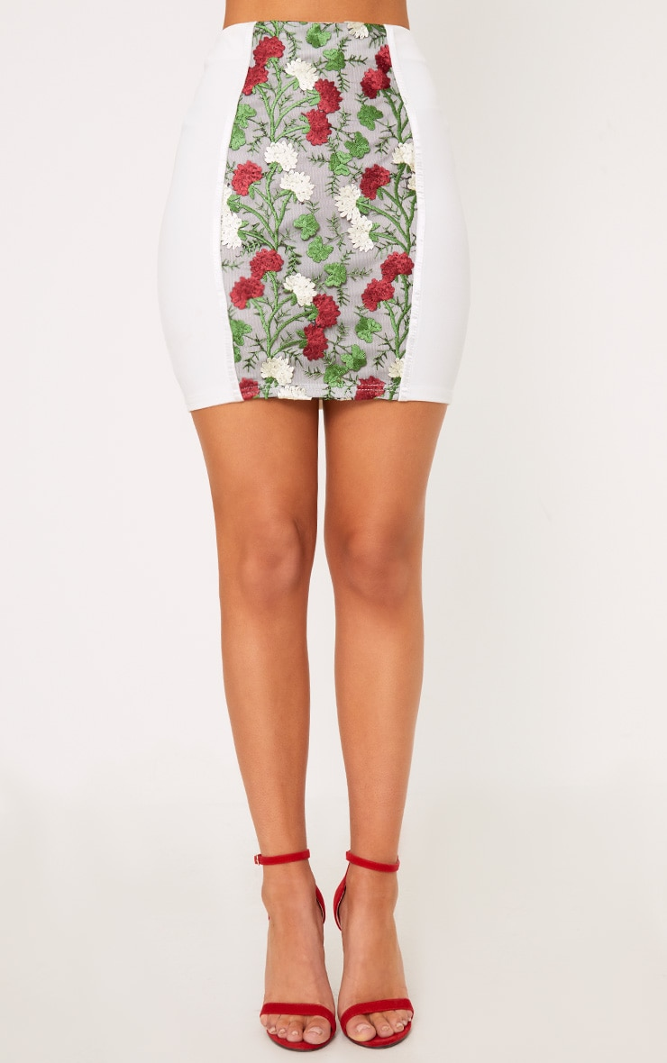 Remih Cream Embroidered Floral Panel Mini Skirt  2