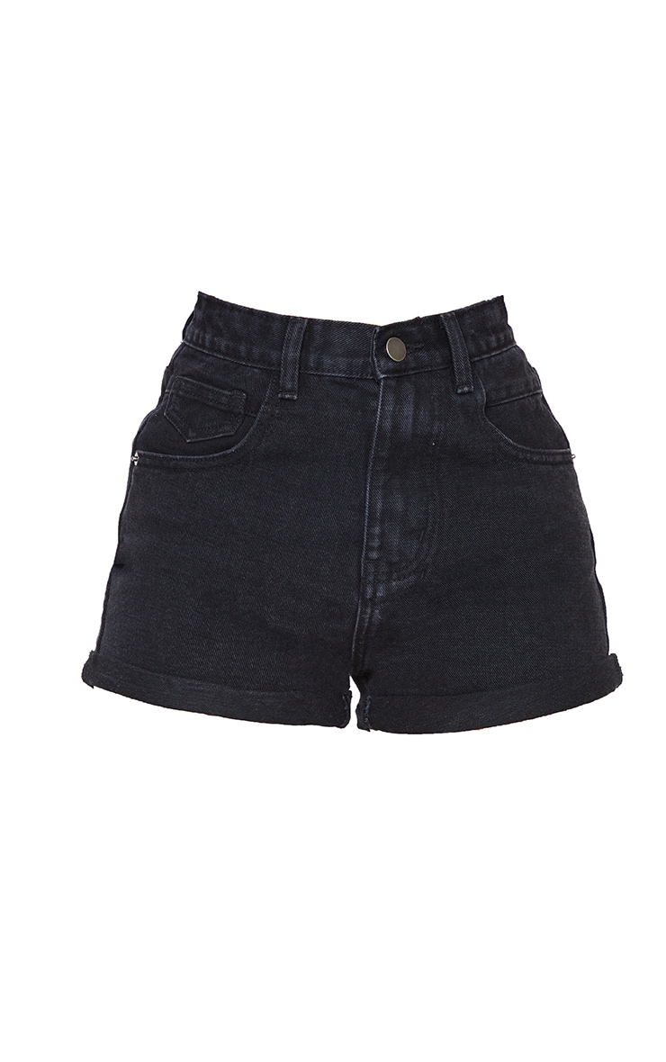 PRETTYLITTLETHING Petite Black Wash Turn Up Mom Denim Shorts 6
