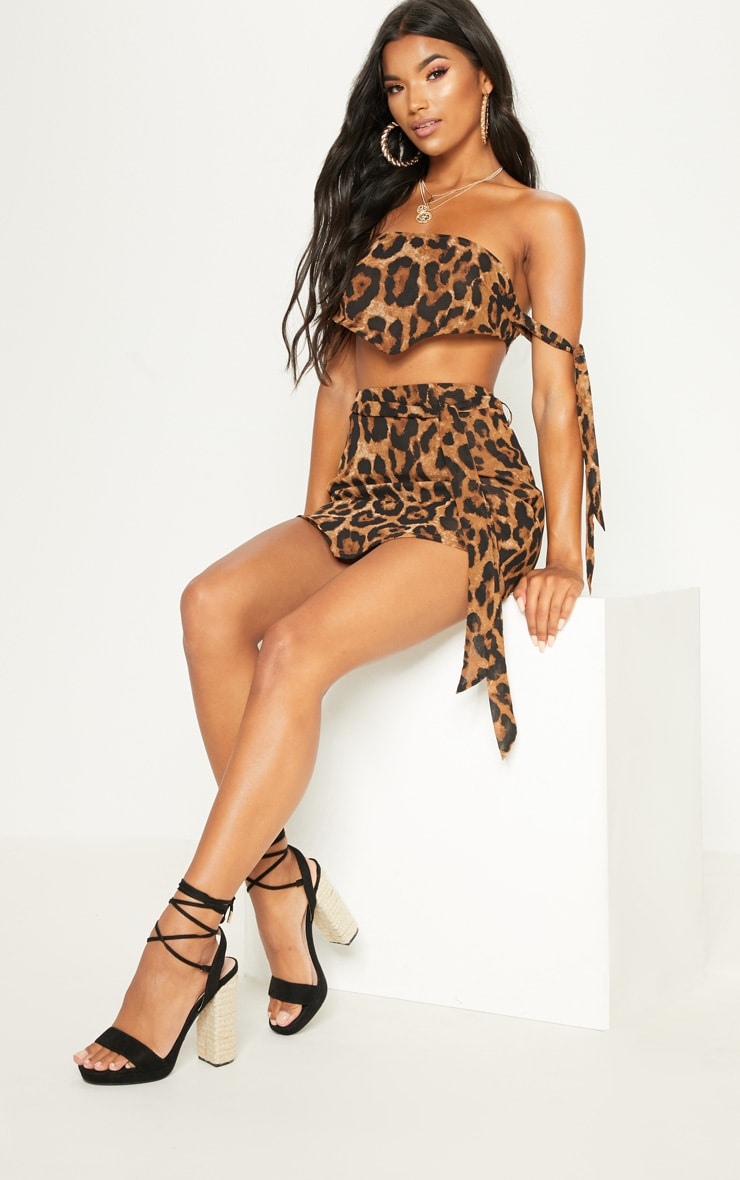 Tan Leopard Bandeau Handkerchief  Top 1