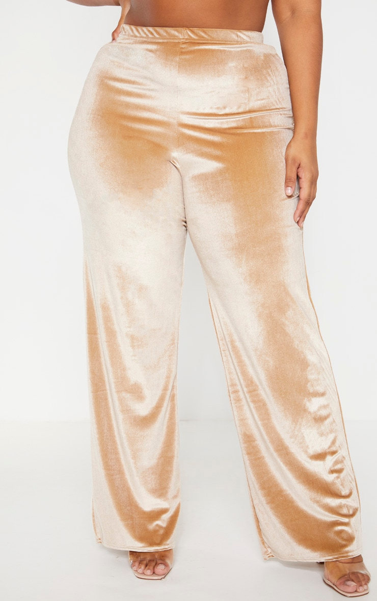 Plus Champagne Velvet Wide Leg Pants  2