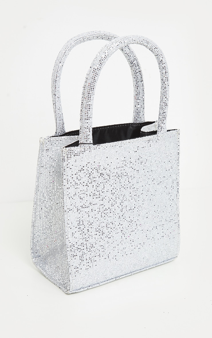 Silver Glitter Rectangle Mini Tote Bag