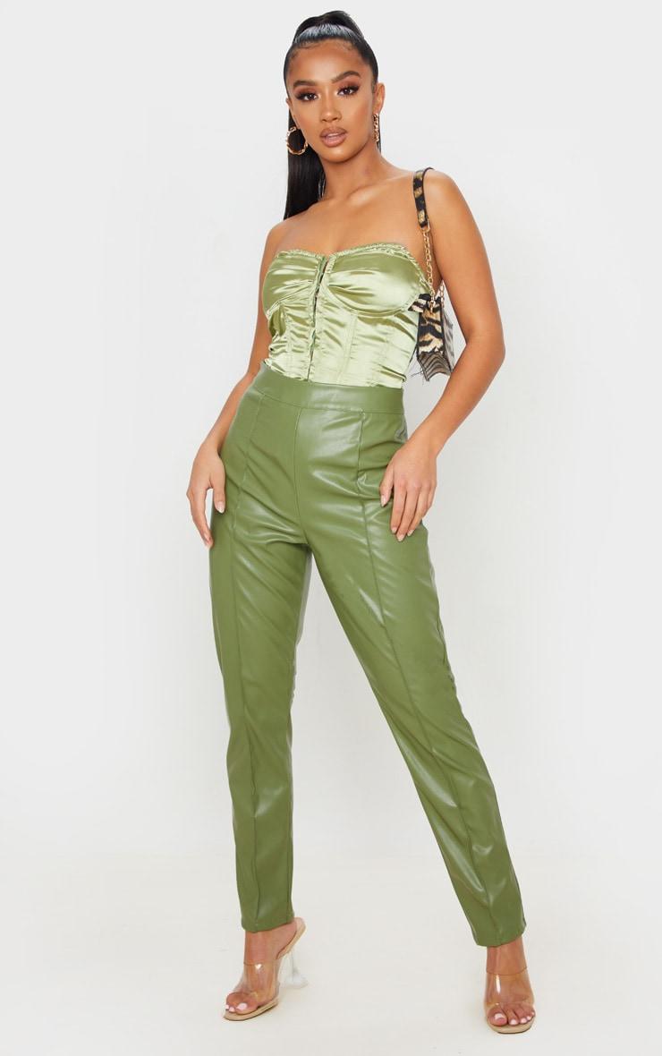 Petite Khaki Seam Detail PU Straight Pants 1