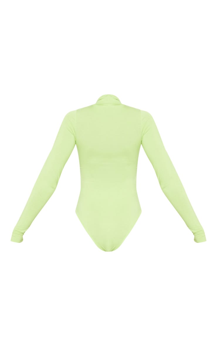Tall Neon Lime Roll Neck Bodysuit 4